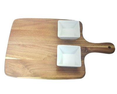 Tapasplank met handvat met 2 kommetjes GWEN - Bruin / Wit - Hout / Porselein