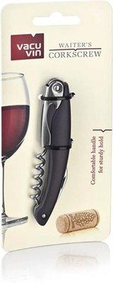 Vacu Vin Multifunctionele Kurkentrekker inclusief kelnermes - Zwart - RVS / Kunststof - 12 x 2 x 1 cm