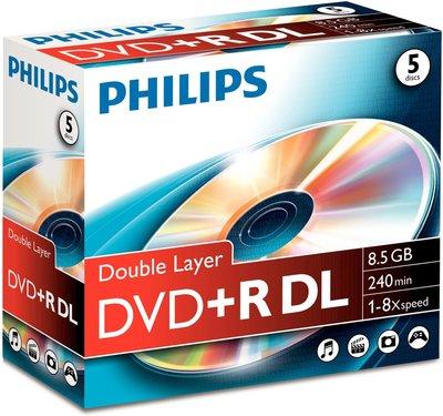 Philips DVD+R DL 8.5 GB - 5 stuks