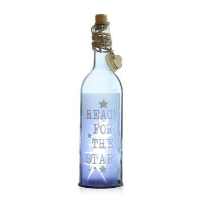 Led Decoratie Fles met Tekst Laetitia - Blauw - Glas - 29,5 cm