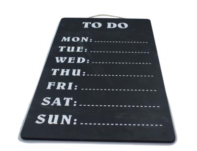 Wandkrijtbord Danny - Weekplanner Todo - Lang - Zwart/Wit - 60x30cm