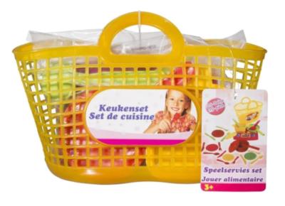 Keukenset in boodschappenmandje - Speelservies set - 25 delig