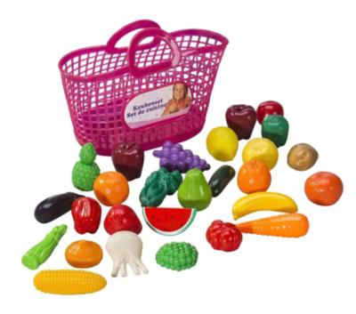 Keukenset in boodschappenmandje - Speelfruit set - 28 delig