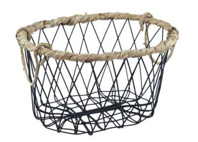 Industriële mand met gevlochten rieten rand ANTJE - Zwart - 31,5cm