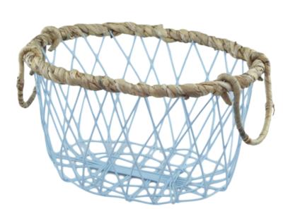 Industriële mand met gevlochten rieten rand ANTJE - Blauw - 31,5cm