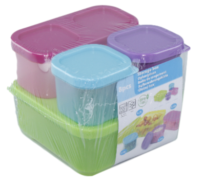 Set van 4 vershoudbakjes - Groen/Blauw/Paars/Roze - Plastic
