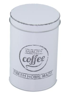 Koffieblik met tekst - Wit - Metaal - Ø9x13 cm