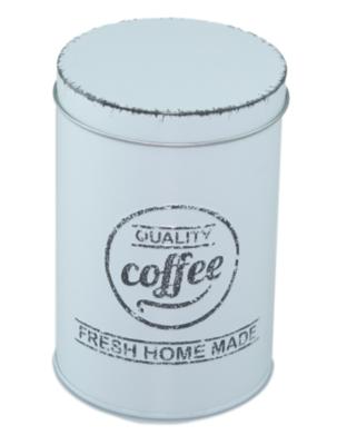 Koffieblik met tekst - Turquoise - Metaal - Ø9x13 cm