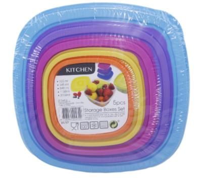 Set van 5 vershoudbakjes - Blauw/Paars/Roze/Geel/Oranje - Plastic