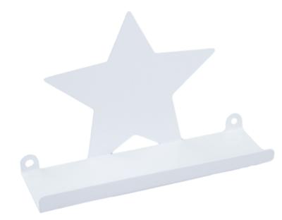 Wandplank met Ster - Wit - Metaal - 20x12,5cm