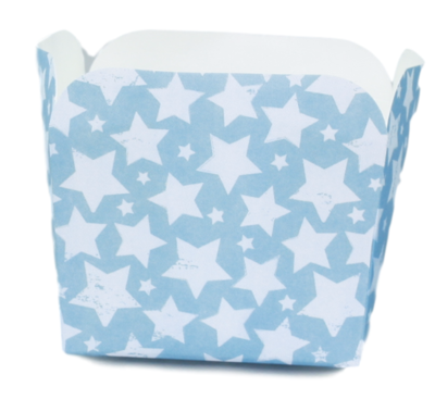 Kartonnen party snack bakjes met Ster - Set van 5 - Blauw/Grijs