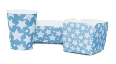 Kartonnen party snack bakjes met Ster - Groot - Set van 5 - Blauw/Grijs
