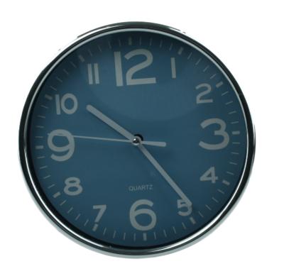 Klok - Rond - Ø19.5 cm - Zilver/Donkerblauw - Kunststof