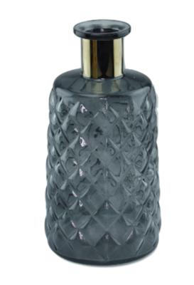 Vaas met gouden rand WELMOED - Blauw - Glas - 24x12cm