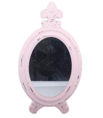 Spiegel TANJA - Barok - tafel / make-up spiegel - Roze - 17x2x30cm