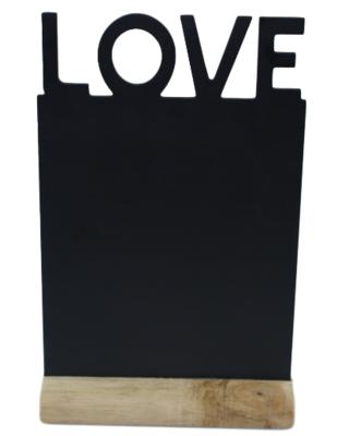 Decoratie Krijtbord op standaard Cadence - LOVE - Zwart - Hout - 32x20 cm