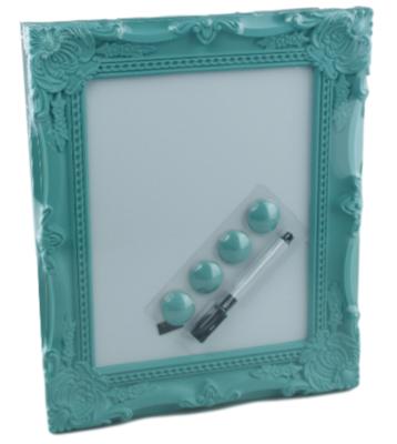 Whiteboard Barok incl. 4 magneten en stift Ivar - Turquoise - 28x33cm