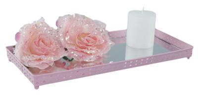 Decoratie tray / dienblad met spiegel THEODORA - Roze - 39.5x18x3cm