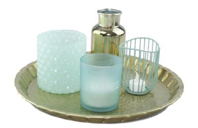 Kaars in glas Happiness - Ø8.5x10cm