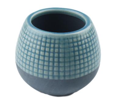 Bloempot met tegeltjes Hetty - Keramiek - Set van 2 - Blauw - 9.5x8cm