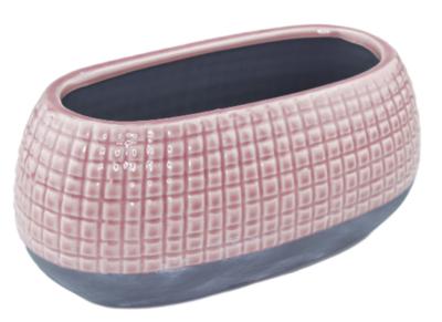Bloempot met tegeltjes Helga - Keramiek - Roze - Beton - 25x12cm