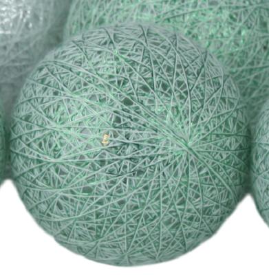 Decoratieve lichtslinger - Wit/Groen - 10 led lampen - Ø6cm
