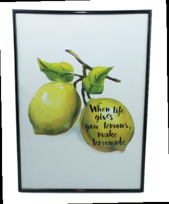 Schilderij met tekst - Lemon - Zwarte lijst - 42x30cm