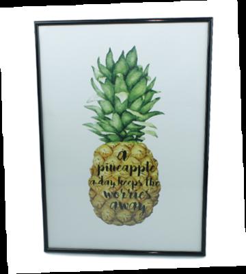 Schilderij met tekst - Pineapple - Zwarte lijst - 42x30cm