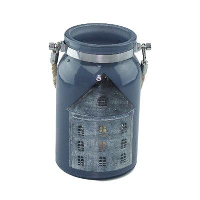 Windlicht met touwhandvat Berry - Blauw - Glas - 18x10.3cm