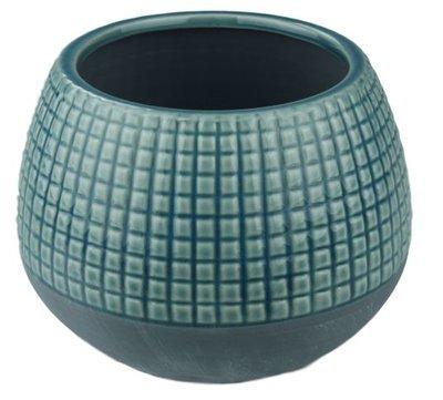 Bloempot met tegeltjes - Beton - Blauw - Ø15 x H12,5 cm