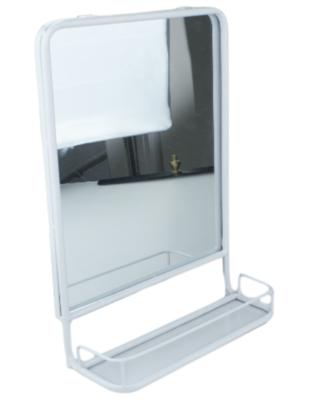 Halspiegel industrieel met plankje Marije - Wit - 25x35 cm - Spiegel - Wandspiegel