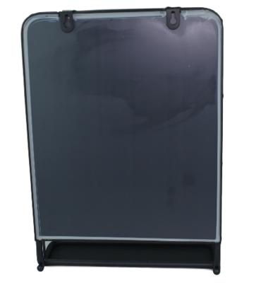Halspiegel industrieel met plankje Marije - Zwart - 25x35 cm - Spiegel - Wandspiegel
