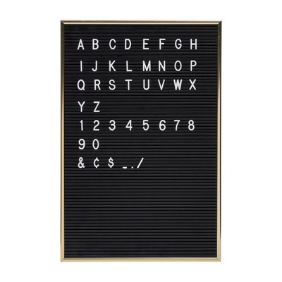Letterbord incl. 144 letters - Gouden omlijsting - 30x45x1.6cm