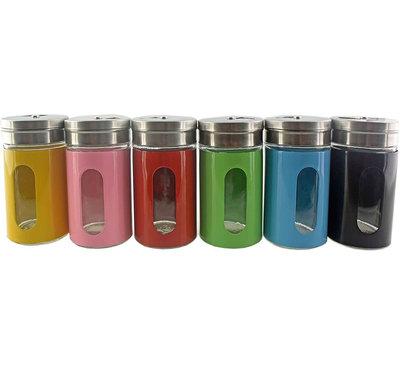Gekleurde Kruidenstrooier met Draaidop inclusief Ophangrek - 6 Stuks