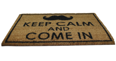 Deurmat met tekst 'Keep Calm and come in' - Kokosmat - 40x60cm