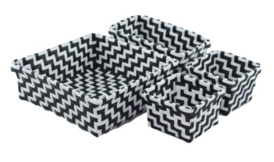 Gevlochten opbergmandjes SONNY - set van 4 - Zwart / Wit - mandjes - opbergbakjes