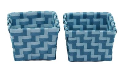 Gevlochten opbergmandjes SONNY - set van 4 - Blauw - mandjes - opbergbakjes