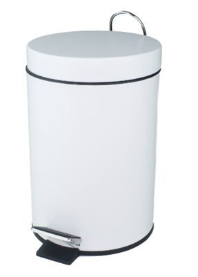 Pedaalemmer met kunststof binnenemmer ROBERTO - Wit - Rond - 3L - 25 x 16.5cm