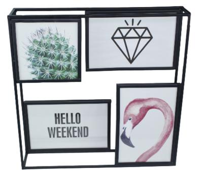 Fotoframe ISABELLE - Metaal - Zwart - Collage - 3x 10 x 15 / 1x 10 x 10 cm