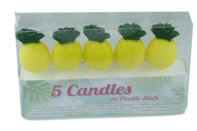 Ananas kaarsjes op plastic stokje - 5 kaarsjes - Geel / Groen