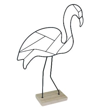 Deco draadjes flamingo - Zwart - Metaal/Hout - 30x8x41cm