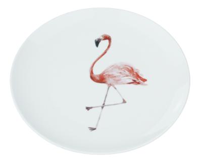 Decoratieve wandbord flamingo - Wit / Roze - Keramiek - Ø22cm