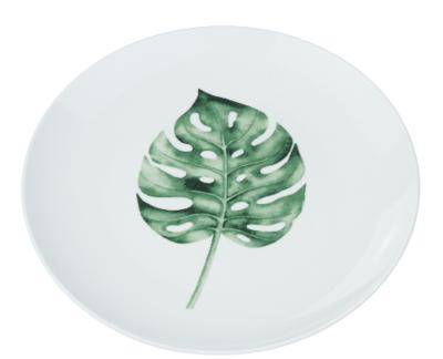 Decoratieve wandbord blad motief - Wit / Groen - Keramiek - Ø22cm