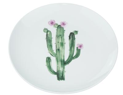 Decoratieve wandbord cactus - Wit / Groen - Keramiek - Ø22cm
