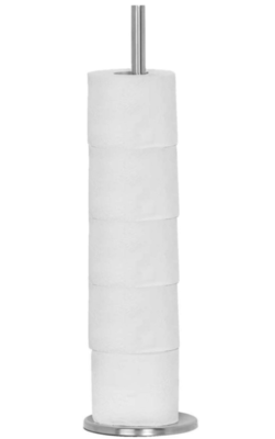 Staande Toiletrolhouder met Verzwaarde Voet Gert - 55 x 18 cm - RVS - Voor 5 Toiletrollen