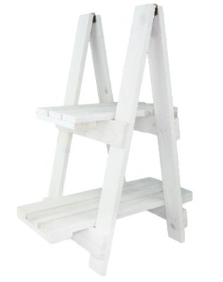 Deco trapje WIETSKE - Wit - Hout - 39x25x50cm