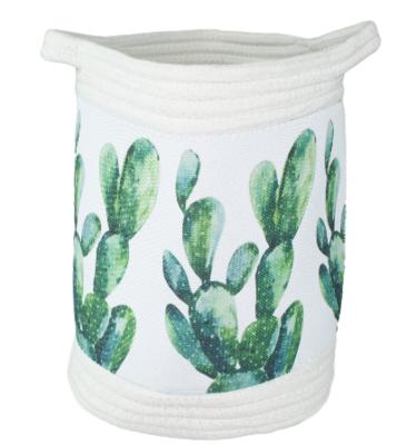 Gevlochten mandje met tropisch design Geoffrey - Cactus - Groen - Wit - Katoen - 24x27cm