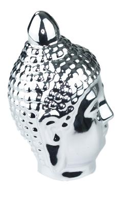 Beeld boeddha hoofd RAMESA - Zilver - 18 cm