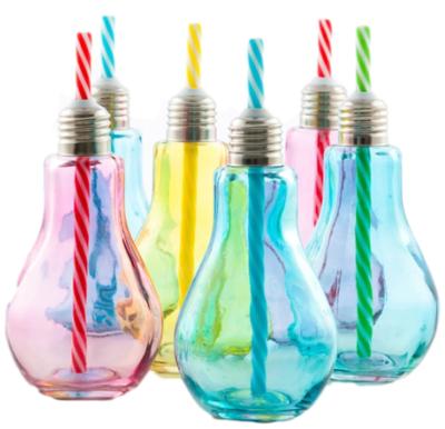 Gekleurde gloeilamp drinkglazen met rietje Maxime - Set van 2 - Blauw - 250ml