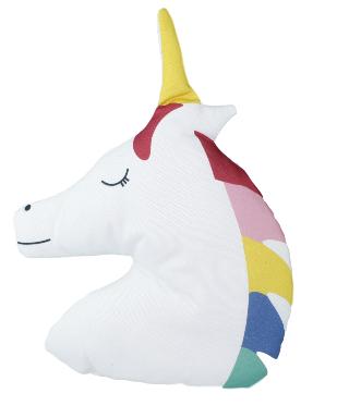 Knuffelkussen unicorn - Wit/Multicolor - H 36 x L 26 cm - Vormkussen